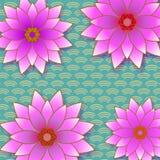 Fondo d'avanguardia floreale con il fiore rosa illustrazione vettoriale