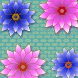 Fondo d'avanguardia floreale con il fiore rosa e blu illustrazione di stock