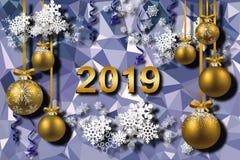 fondo 3d, Feliz Año Nuevo 2019, bolas de la Navidad y copos de nieve ilustración del vector