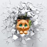 fondo 3d, gatto e una parete rotta royalty illustrazione gratis