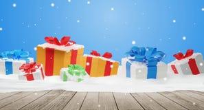 Fondo 3d-illustration dei regali di Natale illustrazione di stock