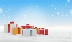 Fondo 3d-illustration della neve di inverno dei regali di Natale royalty illustrazione gratis