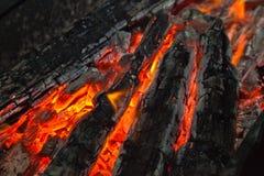 Fondo da un fuoco, dai firewoods conflagrant e dai carboni Fotografia Stock