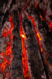 Fondo da un fuoco, dai firewoods conflagrant e dai carboni Immagine Stock
