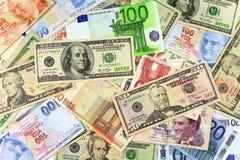 Fondo dai dollari e dalle fatture dell'euro Fotografia Stock Libera da Diritti