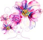 Fondo dai fiori dell'acquerello Fotografia Stock Libera da Diritti