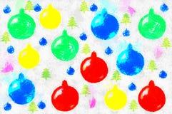 Fondo dai giocattoli tirati di Natale Immagine Stock