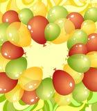 Fondo dai palloni nei colori gialli rossi verdi Fotografia Stock
