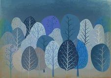 Fondo dalla foresta astratta di autunno su vecchia carta illustrazione di stock
