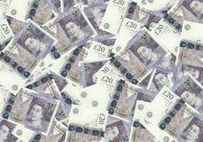 Fondo dalle banconote di 20 di sterlina, concetto finanziario Economia dei ricchi di successo di concetto Immagini Stock Libere da Diritti