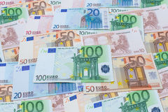 Fondo dalle euro fatture Fotografie Stock Libere da Diritti