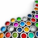 Fondo dalle multi latte di colore di pittura. Fotografia Stock