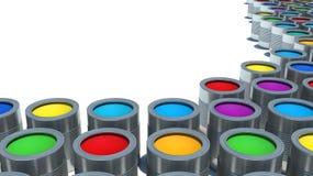 Fondo dalle multi latte di colore di pittura Immagini Stock