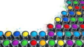 Fondo dalle multi latte di colore di pittura Immagine Stock