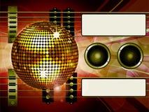 Fondo de Air Guitar y de la bola de discoteca con las etiquetas Fotografía de archivo
