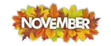 Fondo de Autumn Foliage November Header White Fotografía de archivo libre de regalías