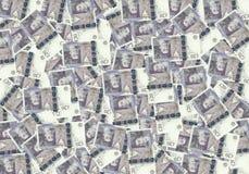 Fondo de billetes de banco de las 20 libras esterlinas, concepto financiero Economía de los ricos del éxito del concepto Foto de archivo