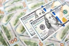 Fondo de 100 billetes de dólar Americano del dinero cientos BI del dólar Foto de archivo