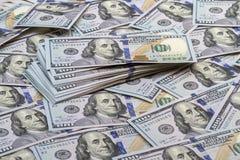 Fondo de billetes de banco cientos dólares Fotografía de archivo libre de regalías