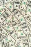 Fondo de billetes de banco dispersados del dólar como inconsútiles abstracto Foto de archivo