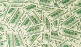 Fondo de billetes de banco dispersados del dólar como inconsútiles abstracto Fotos de archivo