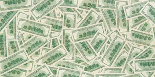 Fondo de billetes de banco dispersados del dólar como inconsútiles abstracto Fotografía de archivo libre de regalías