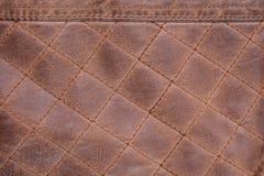 Fondo de Brown de la puntada cosida textura de cuero foto de archivo