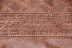 Fondo de Brown de la puntada cosida textura de cuero imagen de archivo libre de regalías