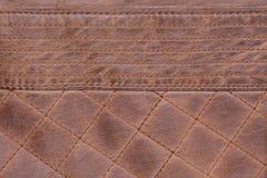 Fondo de Brown de la puntada cosida textura de cuero viejo, gastado fotos de archivo libres de regalías