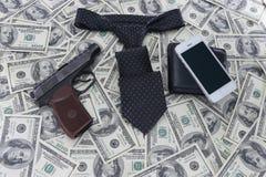 Fondo de cientos cuentas de dólar Imagenes de archivo