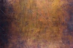 Fondo de cobre cepillado, textura del primer viejo del metal Fotografía de archivo libre de regalías