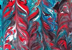 Fondo de colada de acrílico colorido del modelo del ebru de mármol Foto de archivo