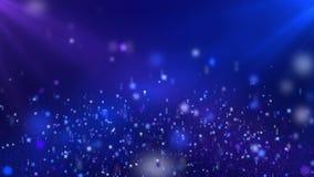 Fondo de colocación púrpura azul profundo flotante del movimiento de las estrellas brillantes