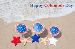Fondo de Columbus Day con las estrellas de mar Fotografía de archivo libre de regalías
