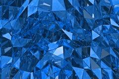 Fondo de cristal abstracto 3D rinden, superficie poligonal Vidrio azul Fotos de archivo libres de regalías