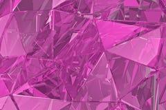 Fondo de cristal abstracto 3D rinden, superficie poligonal Vidrio rosado Imágenes de archivo libres de regalías