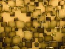 Fondo de cristal abstracto del oro del hexágono 3d Fotografía de archivo libre de regalías