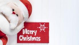 Fondo de Cristmas con Santa Claus Decoración roja Feliz tarjeta de felicitación de Cristmas Fotos de archivo libres de regalías