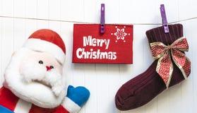 Fondo de Cristmas Decoración roja Feliz tarjeta de felicitación de Cristmas Fotos de archivo libres de regalías