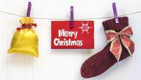 Fondo de Cristmas Decoración roja Feliz tarjeta de felicitación de Cristmas Imagen de archivo libre de regalías