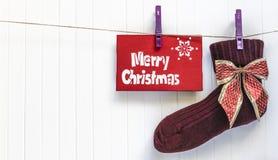 Fondo de Cristmas Decoración roja Feliz tarjeta de felicitación de Cristmas Imagenes de archivo