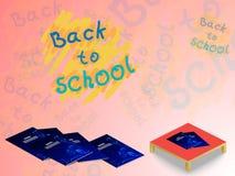 Fondo de cuadernos en el escritorio, y la inscripción de nuevo a escuela ilustración del vector