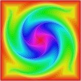 Fondo de cuadrados coloreados bajo la forma de espiral ilustración del vector