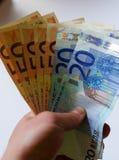 Fondo de cuentas euro Foco bajo Foto de archivo libre de regalías