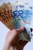 Fondo de cuentas euro Foco bajo Imagen de archivo libre de regalías