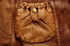 Fondo de cuero con el bolsillo Imagenes de archivo