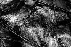 Fondo de cuero de la textura del negro Fotografía de archivo