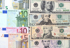 Fondo de dólares y del euro Fotografía de archivo libre de regalías