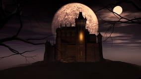 fondo de 3D Halloween con el castillo fantasmagórico Fotos de archivo libres de regalías