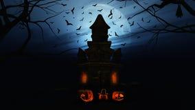 fondo de 3D Halloween con las calabazas y el castillo fantasmagórico Foto de archivo libre de regalías